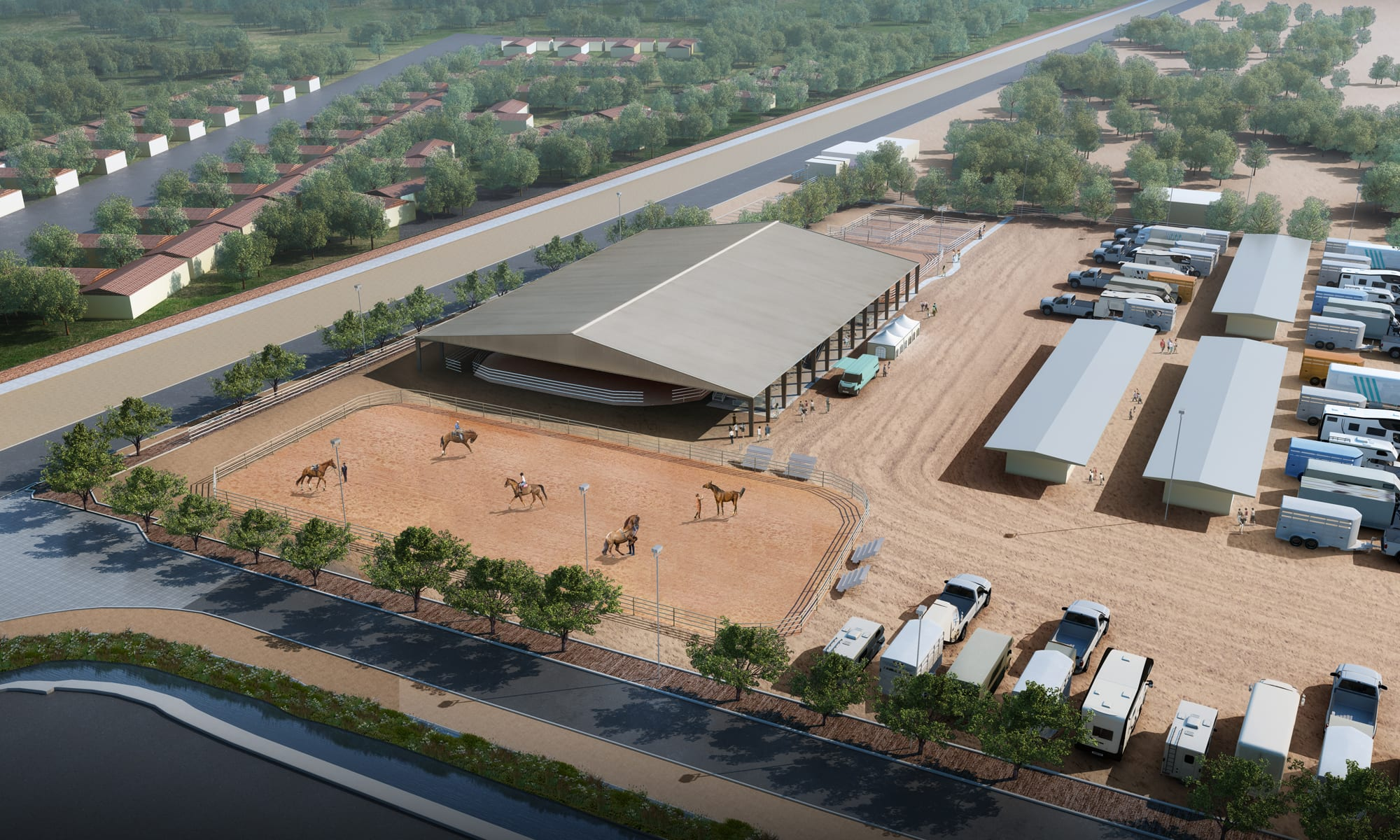 Horsemans Park New Flamingo arena Aerial